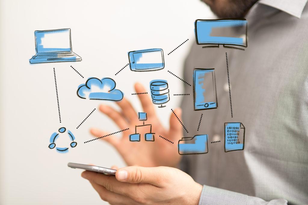 Eine Bildgrafik mit verschiedenen Themenfeldern der Digitalisierung